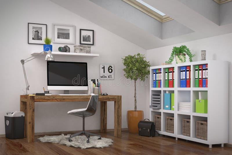 3d representación - lugar de trabajo moderno - Ministerio del Interior ilustración del vector