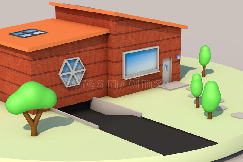 3d representación, mini casa libre illustration