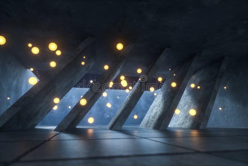 3d representación, mosca del fuego que brilla intensamente en el sitio abandonado, fondo oscuro foto de archivo