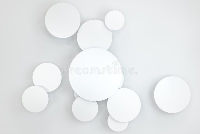 3d representación, plantilla de la tarjeta del marco del círculo ilustración del vector