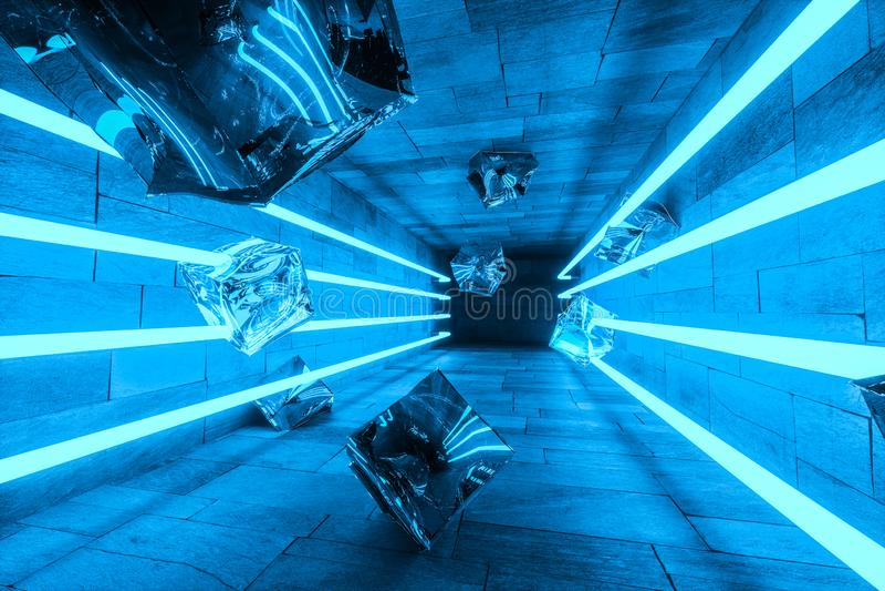 3d representaci?n, l?neas m?gicas que brillan intensamente en el sitio anbanoned, fondo oscuro stock de ilustración