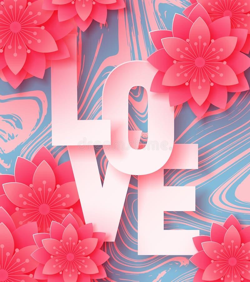 3d resumen el ejemplo del corte del papel de las letras de amor y de las flores de papel del rosa del arte en el fondo de mármol stock de ilustración