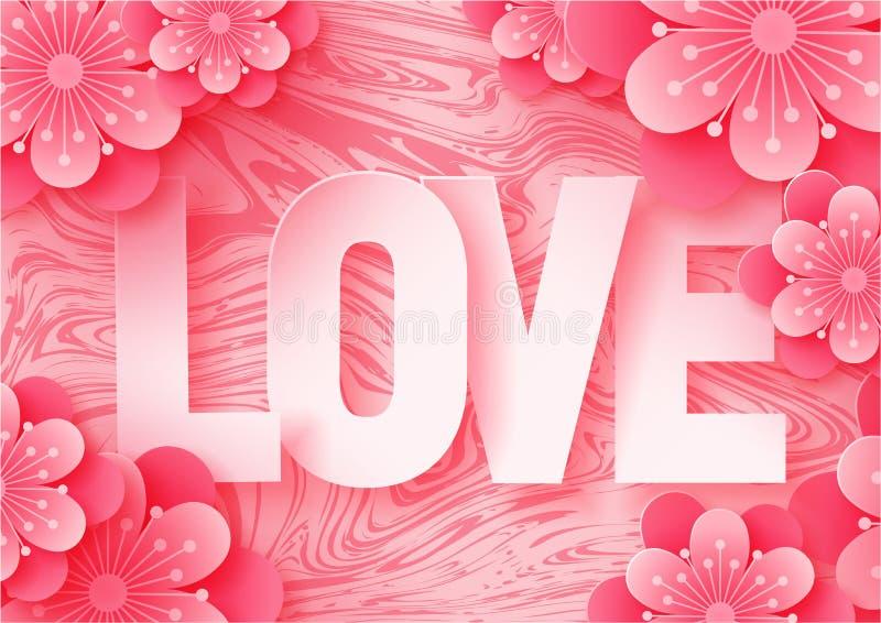 3d resumen el ejemplo del corte del papel de las letras de amor y de las flores de papel del rosa del arte en el fondo de mármol libre illustration