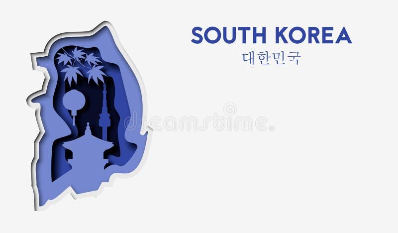 3d resumen el illlustration del corte del papel del mapa de la Corea del Sur y de edificios famosos Plantilla del viaje del vecto ilustración del vector