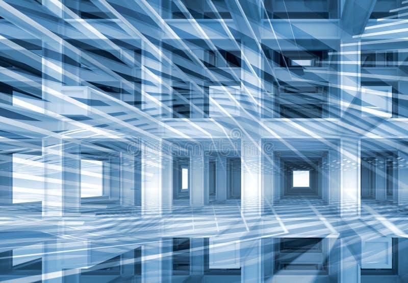 3d resumen, fondo digital con la construcción azul ilustración del vector