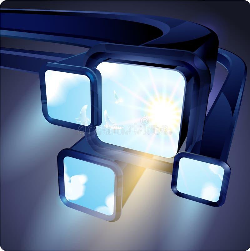 3d resumen monitores de las pantallas fluorescentes del vuelo con una imagen del cielo libre illustration