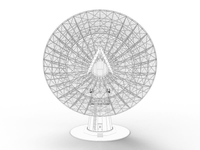 3D resumidos rinden de una antena parabólica stock de ilustración
