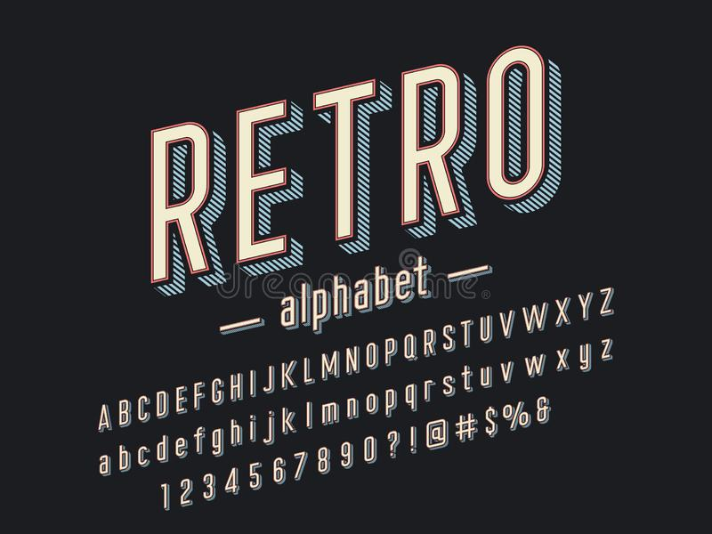 Retro font. 3D retro alphabet design with uppercase and lowercase, numbers and symbol stock illustration