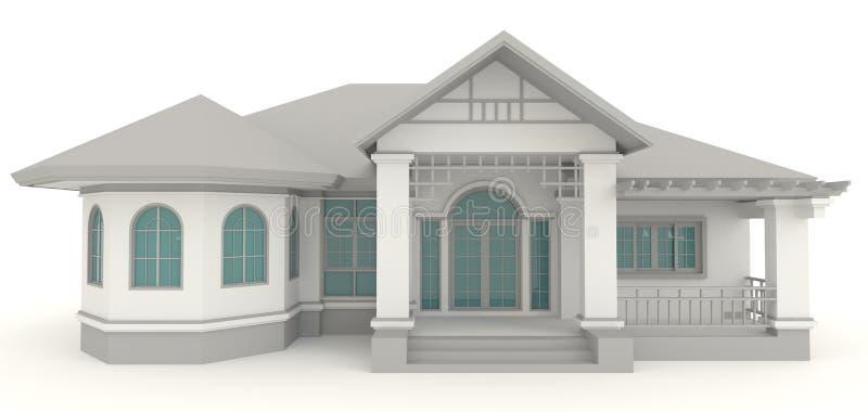 3D retro domowej architektury zewnętrzny projekt w whi ilustracja wektor