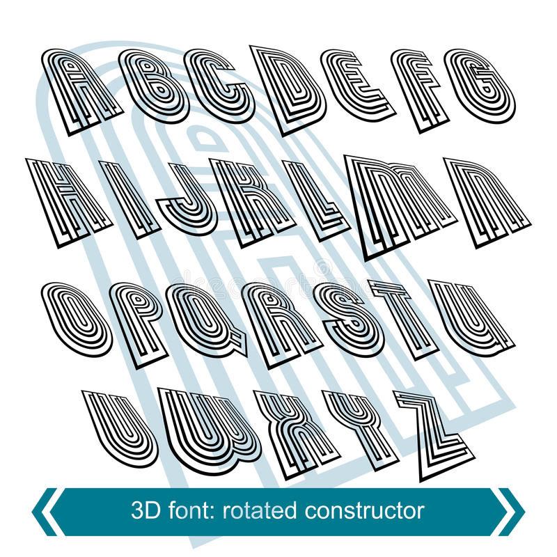 3d retro font in rotation, stylish vector letters design. Uppercase black and white letters stock illustration