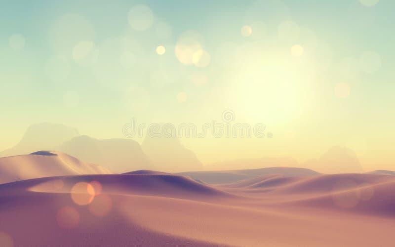 3D retro gestileerde woestijnscène stock illustratie