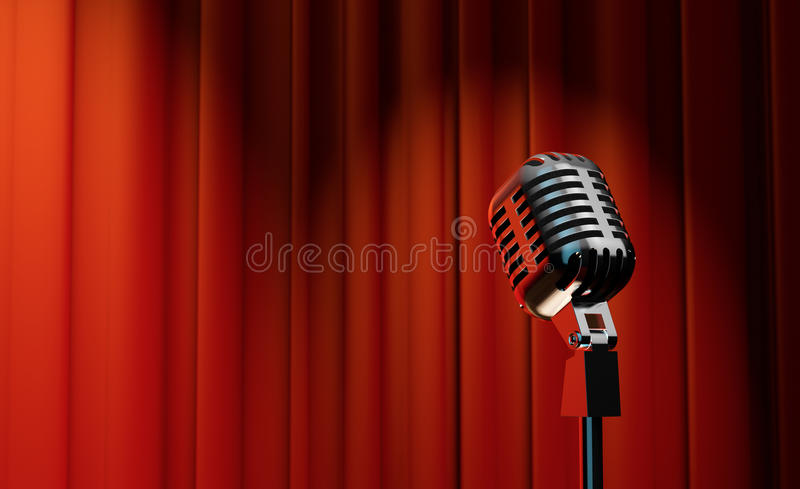Download 3d Retro Microphone On Red Curtain Background Stock Illustration    Image: 42830955