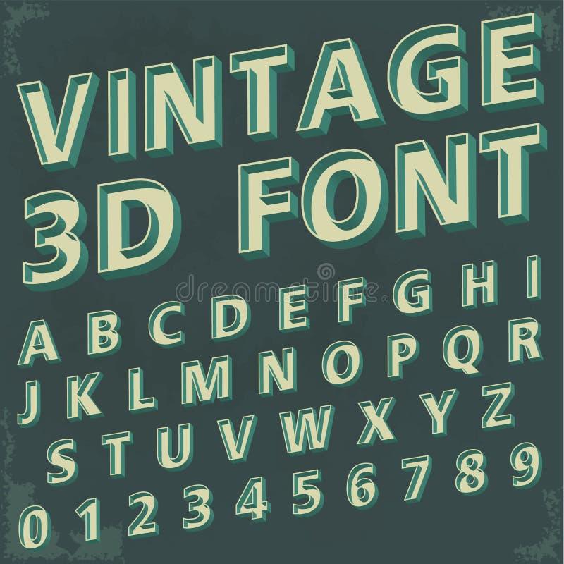 3d Retro- Schriftart, Weinlesetypographie vektor abbildung