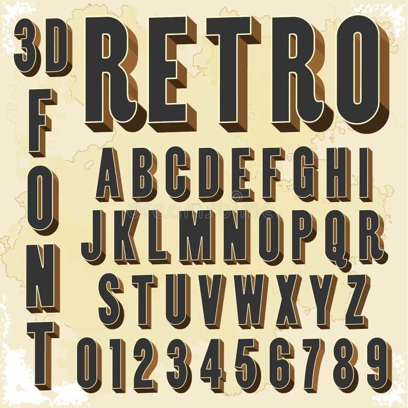 3d retro tipo fonte, tipografia d'annata immagine stock