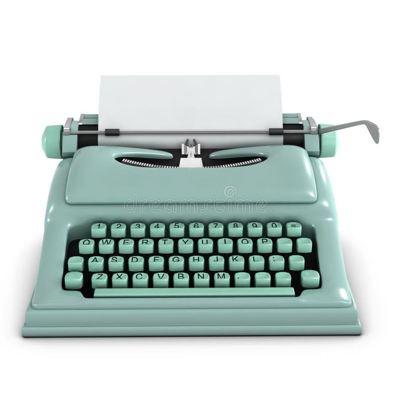 3d Retro typewriter. 3d render of an old retro typewriter stock illustration