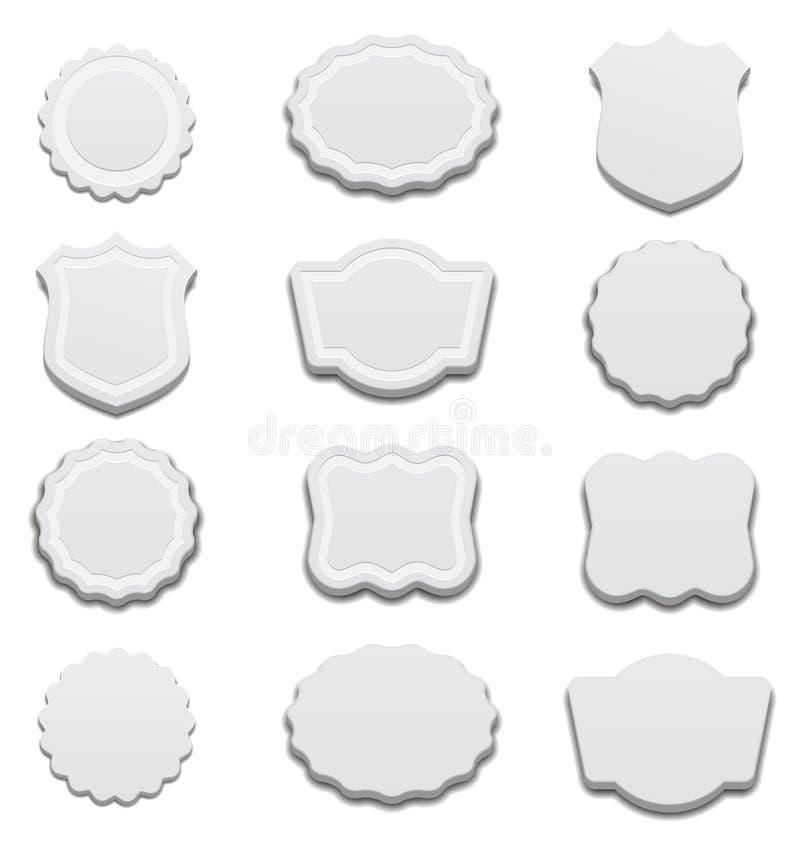 3d Retro White Labels stock illustration
