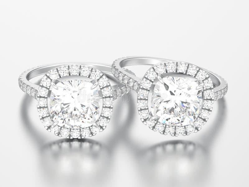 3D ri d'argento del diamante del cuscino di nozze di impegno dell'illustrazione due royalty illustrazione gratis