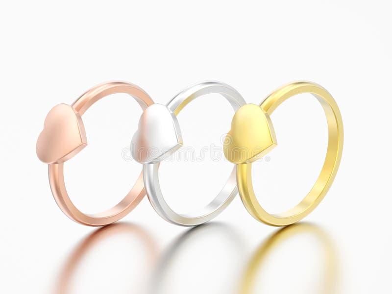 3D ri differente del cuore di nozze di impegno dell'oro dell'illustrazione tre illustrazione vettoriale