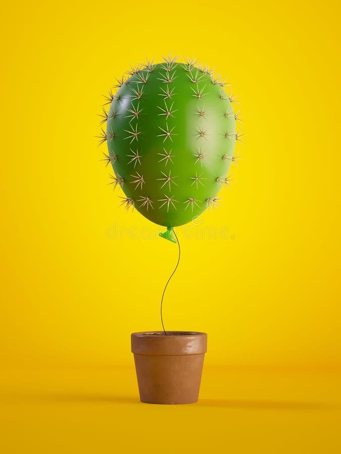 3d rinden, balón de aire verde del cactus que crece, planta en conserva, aislada en fondo amarillo, concepto metafórico, elemento imágenes de archivo libres de regalías