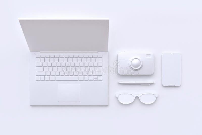 3d rinden concepto de la tecnología que los vidrios blancos de la cámara del ordenador portátil del extracto de la escena encierr ilustración del vector
