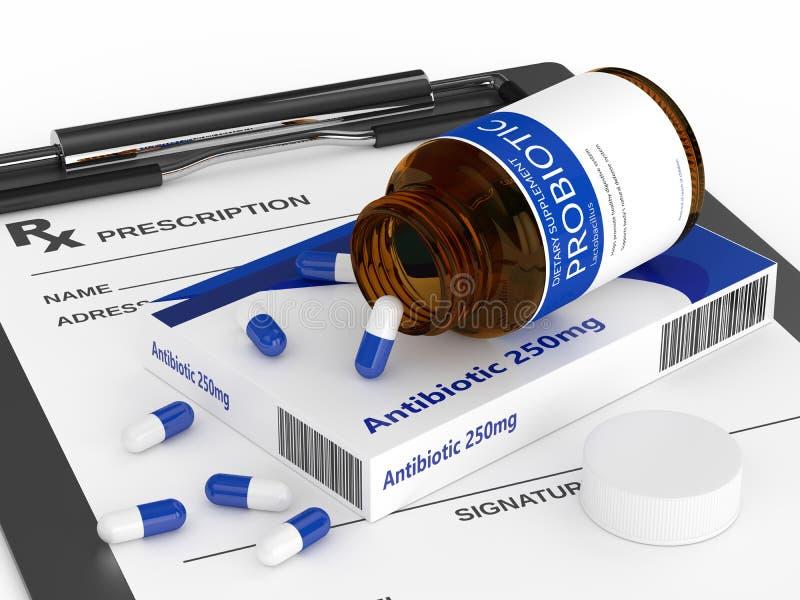 3d rinden de antibiótico y de probiótico con la prescripción libre illustration