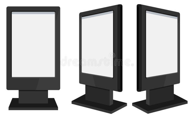 3d rinden de carteleras negras en blanco aisladas Quiosco al aire libre interactivo en blanco representación 3D de banderas con l stock de ilustración