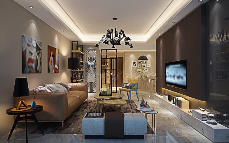 3d rinden de casa postmoderna ilustración del vector
