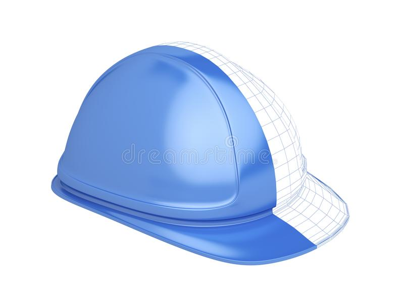3D rinden de casco de seguridad azul libre illustration