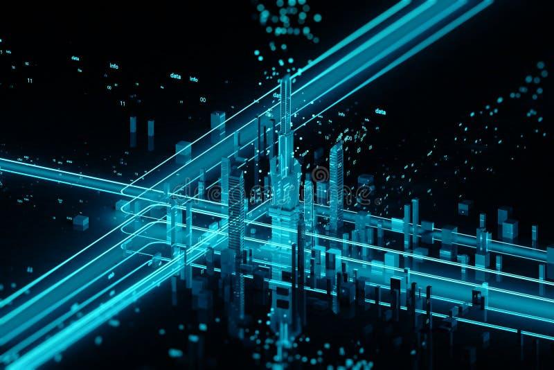 3D rinden de ciudad futurista stock de ilustración