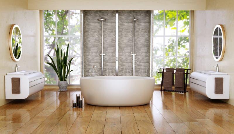 3D rinden de cuarto de baño moderno con el piso de madera foto de archivo libre de regalías