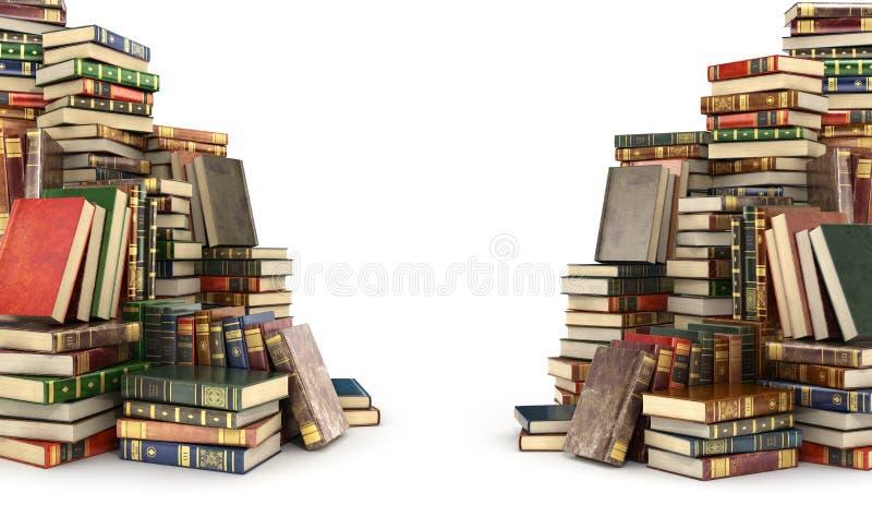 3d rinden de dos pilas grandes de libros coloridos stock de ilustración