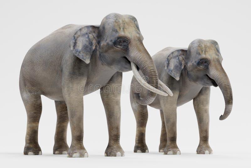 3D rinden de elefantes asiáticos libre illustration