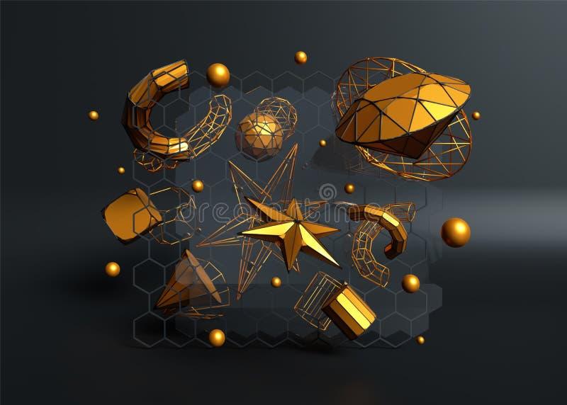 3D rinden de elementos cristalinos de oro tales como esferas, estrella, tubos y diamante libre illustration