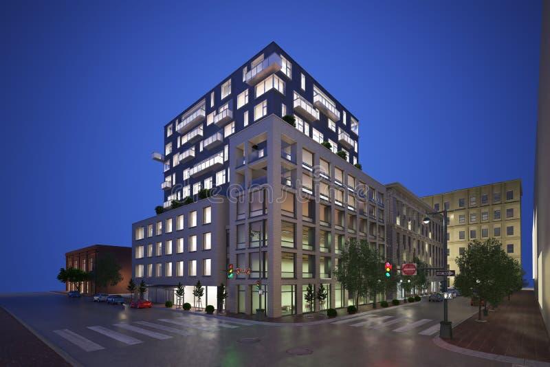 3d rinden de fachada moderna del edificio stock de ilustración