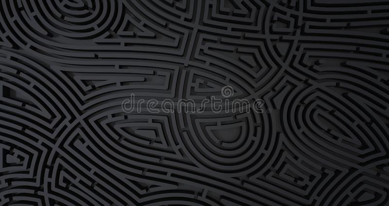 3d rinden de fondo blanco abstracto del laberinto negro complicado libre illustration