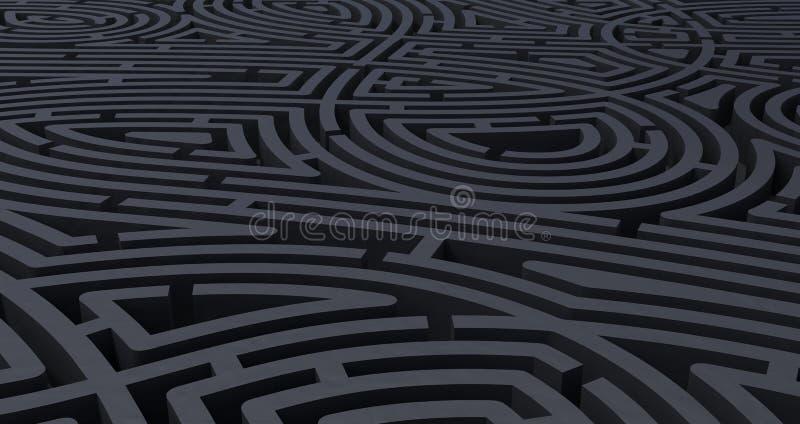 3d rinden de fondo blanco abstracto del laberinto negro complicado stock de ilustración