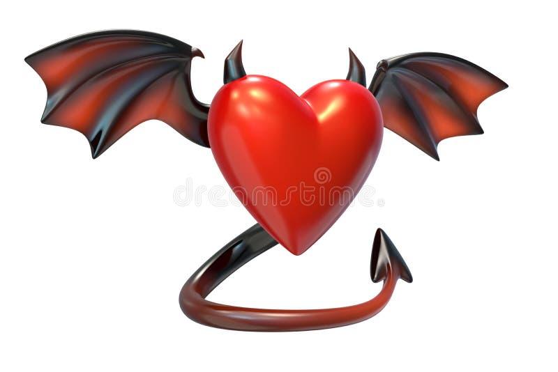 3D rinden de forma roja del coraz?n con las alas del diablo aisladas en el fondo blanco libre illustration