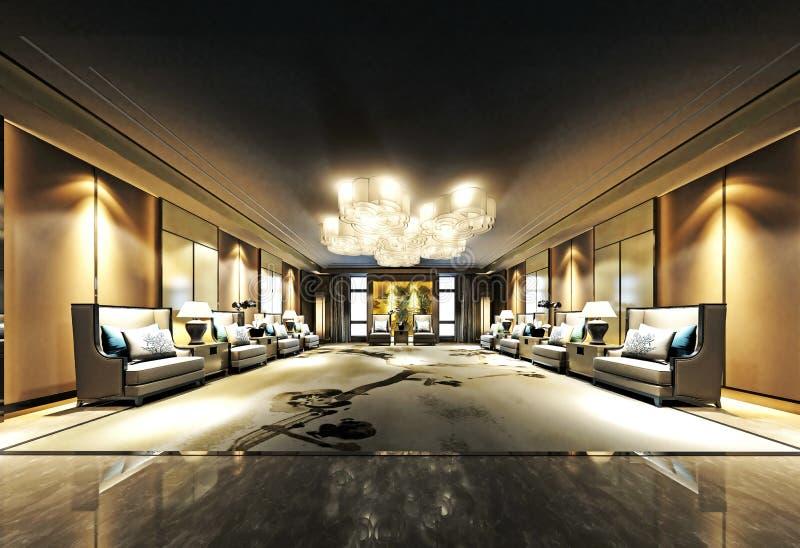 3d rinden de interior del hotel de lujo stock de ilustración