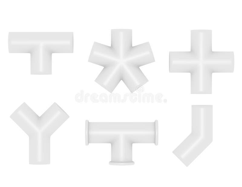 3d rinden de juntas de tubo del PVC ilustración del vector