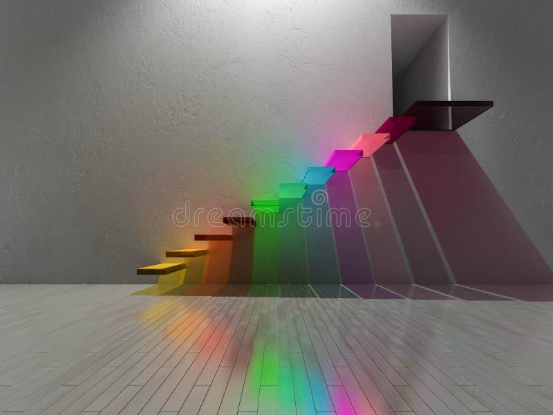 3d rinden de la escalera colorida construida por el vidrio stock de ilustración