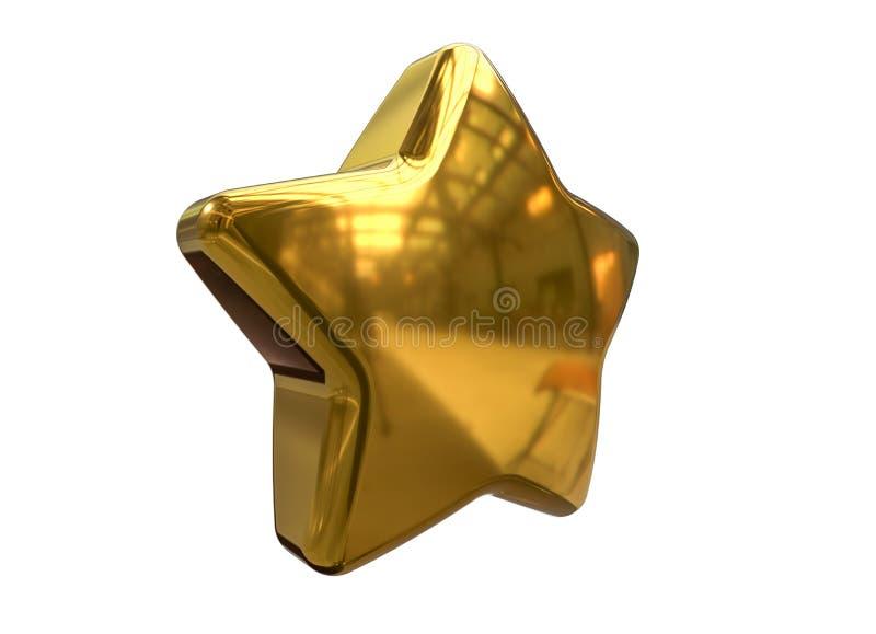 3D rinden de la estrella de oro de la Navidad aislada en el fondo blanco stock de ilustración