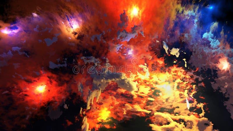 3d rinden de la nebulosa y de estrellas brillantes foto de archivo libre de regalías