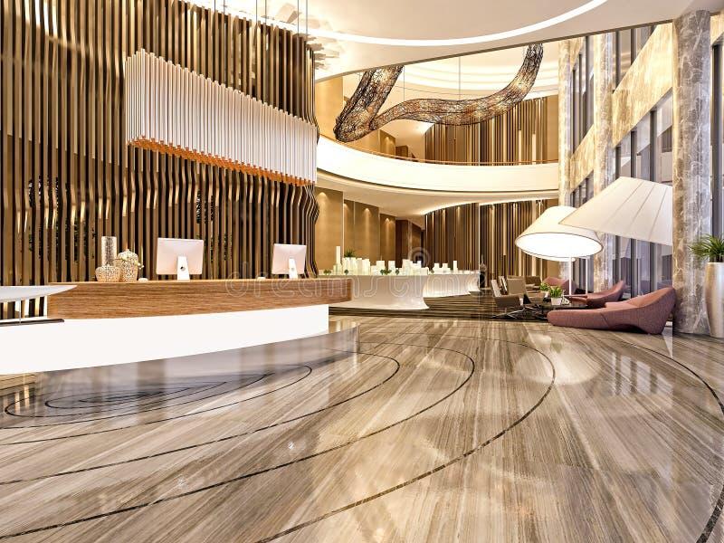 3d rinden de la recepción moderna del hotel stock de ilustración