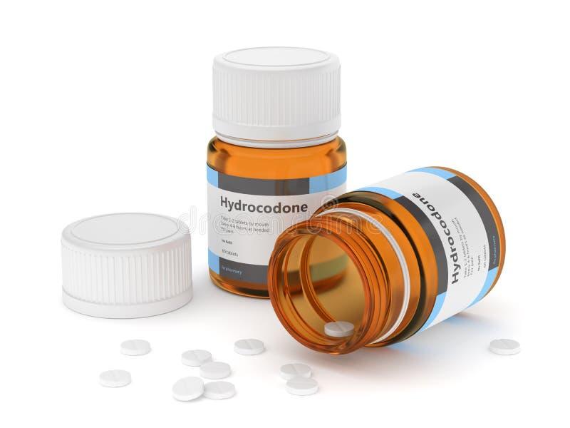 3d rinden de las botellas del hydrocodone con las píldoras libre illustration