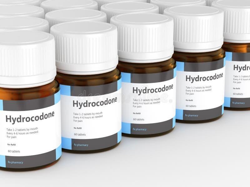 3d rinden de las botellas del hydrocodone con las p?ldoras stock de ilustración