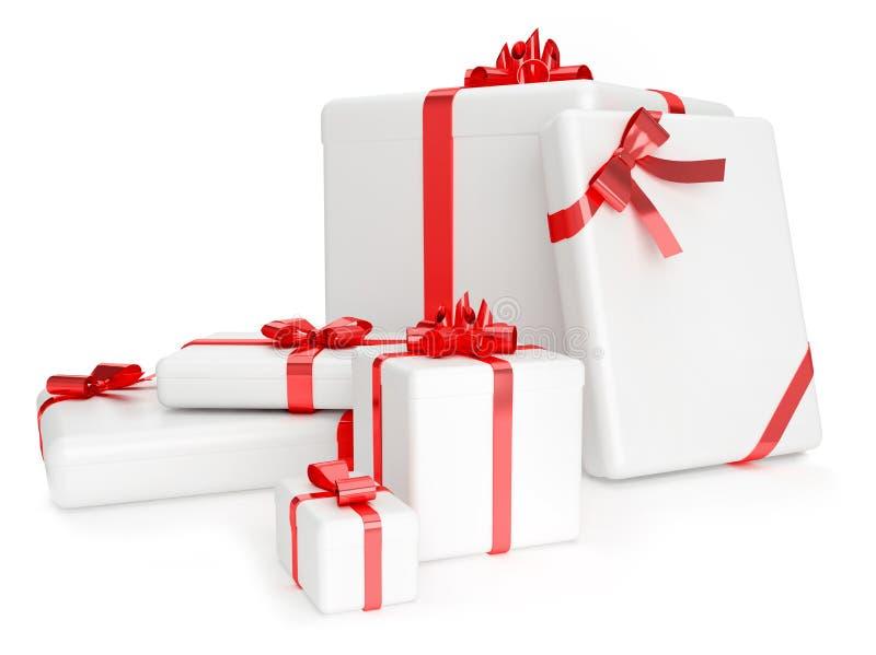 3D rinden de las cajas de regalo con las cintas amarillas sobre el fondo blanco imágenes de archivo libres de regalías