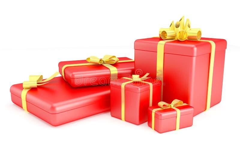 3D rinden de las cajas de regalo rojas con las cintas amarillas imagenes de archivo