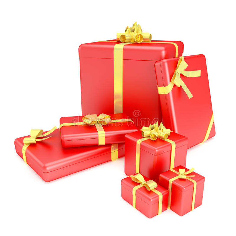 3D rinden de las cajas de regalo rojas con las cintas amarillas imágenes de archivo libres de regalías