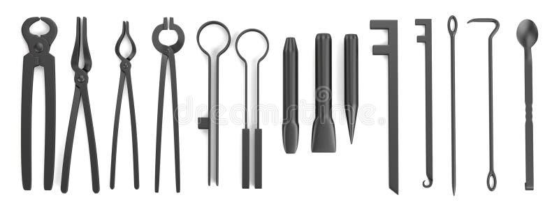 3d rinden de las herramientas del herrero ilustración del vector