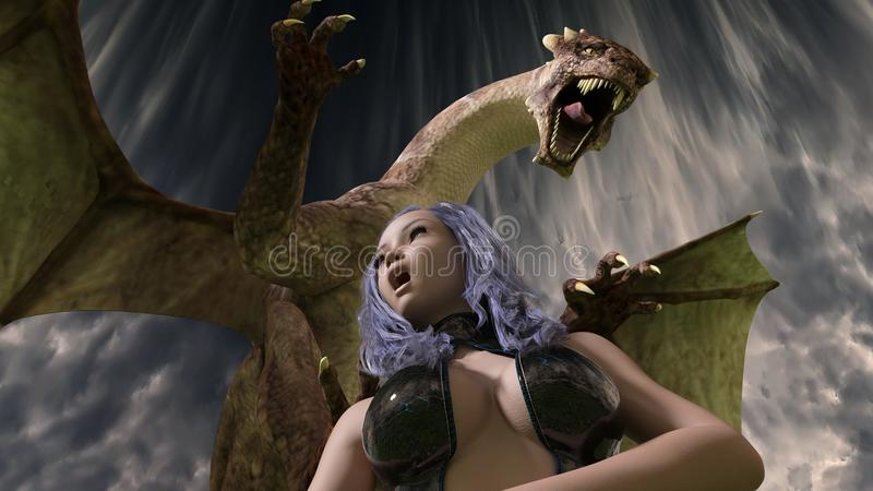 3D rinden de muchacha atractiva y del dragón hechos en el estudio 4 de Daz 3D 9 imágenes de archivo libres de regalías